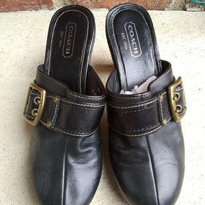 Coach Candace Black Leather Platform Clogs Sz 9.5
